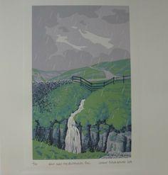 Another great lino print by Stuart Brocklehurst. Art rather than design or illustration. Art print. Found at Folksy.com