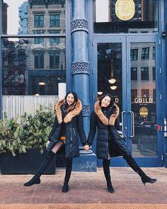 Hey sister go sister  we're twinning in our @mackage and OTK boots but you can tell us apart because Felisa has dyed hair and is taller than Shirley! #funfact  #girlsinsoho #sistersforever #twinning #rwguild #photoshootfresh