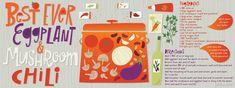 Best Ever Eggplant & Mushroom Chili by Salli S. Food Illustrations, Eggplant, Flora, Stuffed Mushrooms, Draw, Cooking, Artist, Recipes, Tekenen
