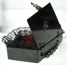 Gothic Spider Coffin Hand Bag with red and black cushioned interior lace, Gothic Romance