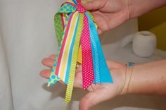 How to make ponytail streamers - thinking of doing this is a birthday party favor!