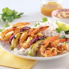 Brochettes de crevettes et pommes grillées - 5 ingredients 15 minutes Shrimp, Bbq, Gluten Free, Discovery, Healthy, Mini Pains, Food, Tailgating, Camping