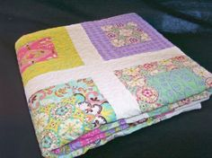 Bright Floral Handmade Lap Quilt  Mint Green by Bonbonsandmore, $125.00