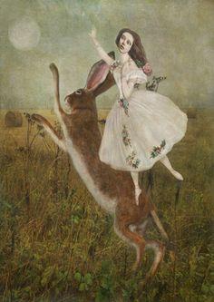 Hare in field with girl. / sarah jarrett