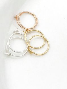 Helix Hex Piercing Ring Hoops Small Silver Cartilage Hoop