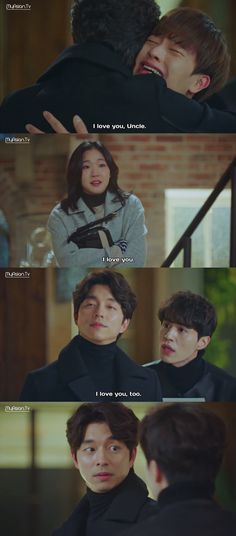 I love this scene! :D | Goblin | 도깨 | Yook Sungjae (Yoo Deok Hwa) / Kim Go Eun (Ji Eun Tak) / Lee Dong Wook (Wang Yeo) / Gong Yoo (Kim Shin)