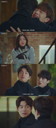 I love this scene! :D   Goblin   도깨   Yook Sungjae (Yoo Deok Hwa) / Kim Go Eun (Ji Eun Tak) / Lee Dong Wook (Wang Yeo) / Gong Yoo (Kim Shin)