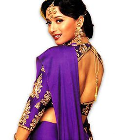The dancing queen of Bollywood, Madhuri Dixit has won many hearts starting from the likes of Ranbir Kapoor to the late M. An actor par excellence and enviable dancing skills, she still make millions of hearts go dhak-dhak. Bollywood Mode, Bollywood Sari, Vintage Bollywood, Bollywood Fashion, Bollywood Actress, Bollywood News, Saris, Lehenga Sari, Saree Blouse