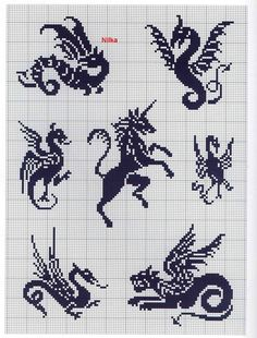 For my friends' coat of arms request. They wanted dragons and unicorns!