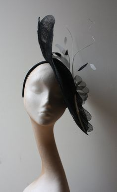 Black Petal saucer with feathers and quills by CoutureHatsbyBeth, $270.00