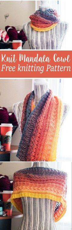 Knit Mandala Cowl free knitting pattern. FREE knitting pattern for the mandala yarn by Lionbrand. Includes written pattern and video tutorial.