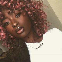 pink hair color for dark skin color
