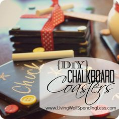 DiY Chalkboard Coasters with buttons. These are so easy to make and turn out so cute! Make them in bulk, then tie them in sets with a pretty ribbon to have on hand anytime you need a thoughtful hostess or teacher gift!