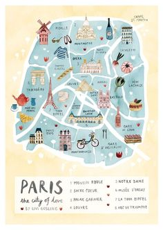 Carte touristique de Paris Plus #TravelEuropeIllustration