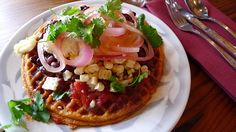 Savory cornmeal waffle from Portobello in Portland: one of the best breakfast dishes I've ever had.