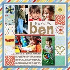 scrapbook page: i want an L is for Logan page