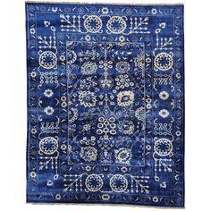 "1800getarug Wool and Bambbo Silk Tabriz Tone on Tone Handmade Rug (8' x 10') (Exact Size: 8'0"" x 10'0""), Blue, Size 8' x 10'"