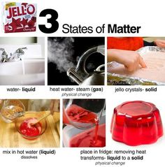 E is for Explore!: Matter and Jello! This activity allows students to explore the different states of matter using Jello. They will explore the Jello in its different states. Florida Standards: Observe and describe water in its solid, liquid, Primary Science, Science Chemistry, Kindergarten Science, Elementary Science, Physical Science, Science Classroom, Teaching Science, Science Fair, Science Experiments