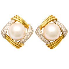1980's GUCCI Mabe Pearl,Diamond And Gold Earrings | From a unique collection of vintage clip-on earrings at http://www.1stdibs.com/jewelry/earrings/clip-on-earrings/