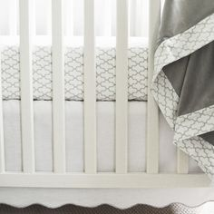 Scalloped White Crib Skirt with Gray Trim - such a clean, polished look in the nursery!