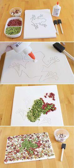 herbst basteln kindern hülsenfrüchte mosaik frosch vorlage