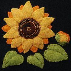 """Wool Applique Pattern Kit BOM """"Sunflower"""" for """"The Four Seasons of Flowers"""" wool quilt Wool Applique Patterns, Felt Applique, Applique Ideas, Block Patterns, Flower Applique, Pdf Patterns, Quilt Pattern, Print Patterns, Penny Rugs"""