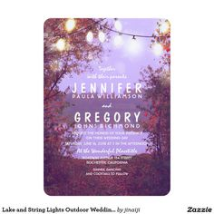 Lake and String Lights Outdoor Wedding Invitation