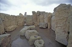 The Megalithic Temples of Malta, Hagar Qin © Sacred Sites. he southern temple, with its two elliptical cells, is the oldest; the northern temple, which is small in size, is more recent, although no later than 2200 BC. The ensemble of Ġgantija which serves as a point of archaeological reference - the 'Ġgantija Phase' (c. 3000-2200 BC) is one of the most important periods of the Maltese Bronze Age.