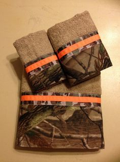 #RealtreeAp #Camo and Neon Orange Bath Towel Set by LadyDiBlankets, $59.75