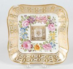 ANTIQUE-HAND-PAINTED-PORCELAIN-SQUARE-PLATE-IN-THE-STYLE-OF-COALPORT-OR-SPODE