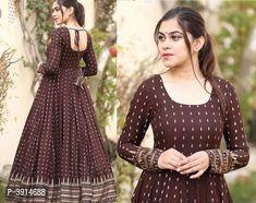 Hot Selling Rayon & Cotton Designer Anarkali Kurtas from Stf Store Indian Long Dress, Indian Gowns Dresses, Indian Fashion Dresses, Dress Indian Style, Indian Wear, Cotton Long Dress, Long Gown Dress, Saree Dress, Long Frock