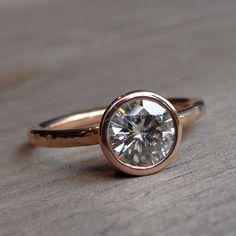 Moissanite Engagement Ring - Recycled 14k Rose Gold, Made to Order - Eco-Friendly Diamond Alternative. $1,728.00, via Etsy.