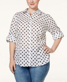 1d0212ef Karen Scott Plus Size Dot-Print Shirt, Only at Macy's Plus Sizes - Tops -  Macy's