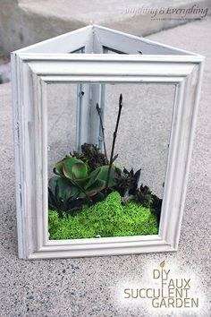 DIY Faux Succulent Garden using Dollar Store Frames - Monthly DIY Challenge - Anything & Everything