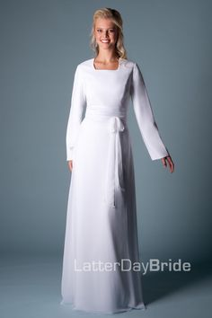 2016 Simple White  A-line Floor Length Modest Full Long Sleeves Sashes Chiffon Temple Wedding Dress With Sleeves
