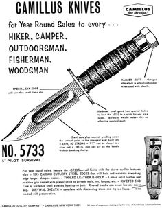 Vintage Camillus No. 5733 Pilot Survival Knife ad