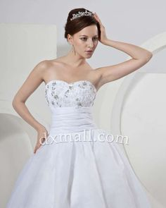 Drop Waist Wedding Dresses Sweetheart Court Train Satin-organza Satin White 0100107001911