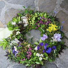 A funeral wreath, with flowers from the nature and my mother's garden.