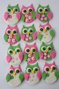 12 Fondant cupcake toppers--owl by PastelFiesta on Etsy