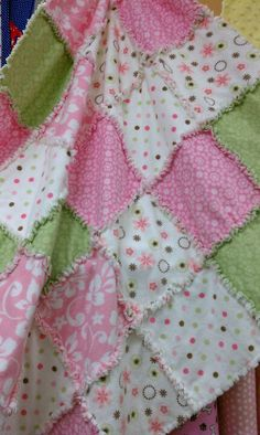 A patient of mine brought me a rag blanket today that she had made herself for baby girl, similar to this one but even prettier :)