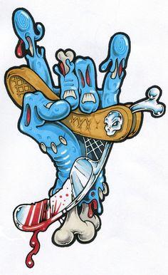 Vizman Zombie Drawings, Cool Drawings, Tattoo Drawings, Art Tattoos, Graffiti Drawing, Graffiti Art, Barber Logo, Arte Black, Graffiti Characters