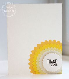 Card by PS DT Kalyn Kepner using PS Scalloped Circles dies along with the Many Thanks stamp set