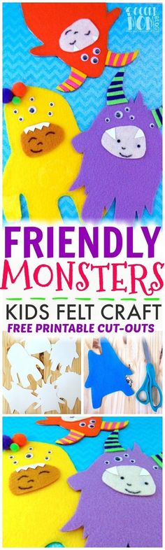 "These colorful felt ""friendly monsters"" put a new spin on paper dolls! So much fun for kids to make this craft and play with over and over again."