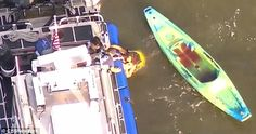 Police say an 18-year-old employee of the kayak company had a tourniquet applied to his arm after the bone  pierced the skin, causing him to lose a large amount of blood (pictured right)