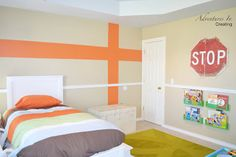 Boys Bedroom - do 2 colors with the 2nd color a little lower and to the left of the one shown