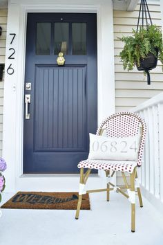 Home Renovation Front Door Exterior update and curb appeal cape cod style home - … Cottage Front Doors, House Front Door, House Entrance, Cottage Door, Exterior Remodel, Interior Exterior, Exterior Design, Painted Front Porches, Painted Front Doors
