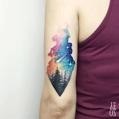 Tattoo ideas forest tattoos, nature tattoos, life tattoos, world map tattoo Neue Tattoos, Body Art Tattoos, Small Tattoos, Sleeve Tattoos, Galaxy Tattoo Sleeve, Tatoos, Galaxy Tattoos, Henna Tattoos, Night Sky Tattoos