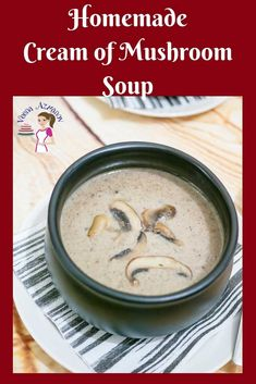 Make the most simple, easy and delicious cream of mushroom soup at home from scratch. A simple and easy recipe you will be making over and over again. Easy Mushroom Soup, Mushroom Soup Recipes, Best Soup Recipes, Chowder Recipes, Real Food Recipes, Yummy Food, Chili Recipes, Yummy Recipes, Salad Recipes