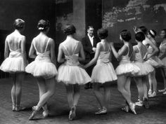 "Corps de Ballet Listening to Ballet Master During Rehearsal of ""Swan Lake"" at Paris Opera  Photographic Print"