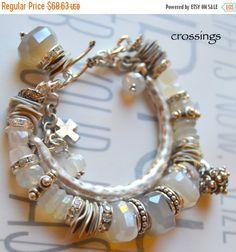 Rainbow moonstone bracelet by soulfuledges on Etsy